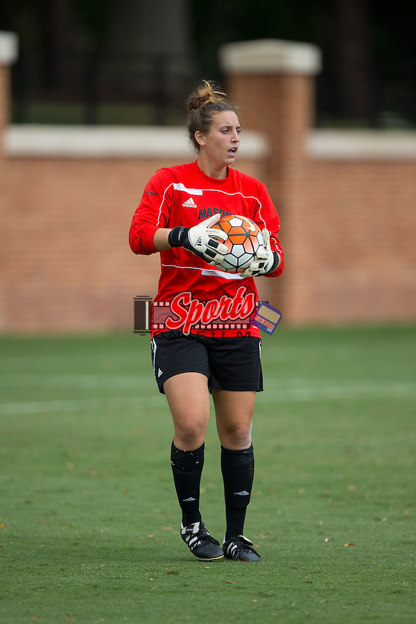 Kirsten Glad (1) of the George Mason Patriots controls the ball during second half action against the Wake Forest Demon Deacons at Spry Soccer Stadium on September 13, 2015 in Winston-Salem, North Carolina.  The Demon Deacons defeated the Patriots 1-0.  (Brian Westerholt/Sports On Film)