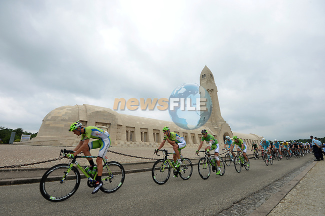 The peleton pass by the ossuary of Douaumont during Stage 7 of the 2014 Tour de France running 234.5km from Epernay to Nancy. 11th July 2014.<br /> Photo ASO/G.Demouveaux/www.newsfile.ie