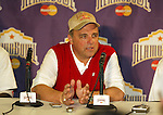 University of Wisconsin head coach Barry Alvarez talks with the media at the post-game press conference at the Alamo Bowl in San Antonio, Texas. The Badgers beat the University of Colorado in overtime 31-28 on 12/28/02. (Photo by David Stluka)