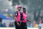 James Franklin (L) and Darren Sammy of Hung Hom JD Jaguars (R) during the Hong Kong T20 Blitz match between Kowloon Cantons and Hung Hom JD Jaguars at Tin Kwong Road Recreation Ground on March 10, 2017 in Hong Kong, Hong Kong. Photo by Chris Wong / Power Sport Images
