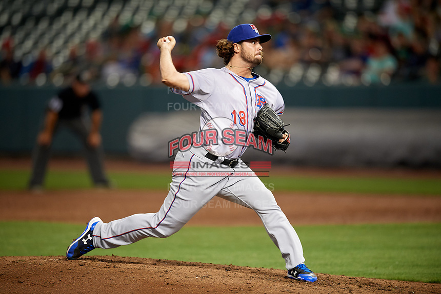 Round Rock Express relief pitcher R.J. Alvarez (18) delivers a pitch during a game against the Memphis Redbirds on April 28, 2017 at AutoZone Park in Memphis, Tennessee.  Memphis defeated Round Rock 9-1.  (Mike Janes/Four Seam Images)