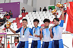 Hong Kong team group (HKG), <br /> AUGUST 28, 2018 - Cycling - Track : Men's Team Pursuit Victory ceremony at Jakarta International Velodrome during the 2018 Jakarta Palembang Asian Games in Jakarta, Indonesia. <br /> (Photo by MATSUO.K/AFLO SPORT)