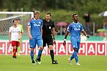 11.08.2019, Salmtalstadion, Salmrohr, GER, DFB-Pokal, 1. Runde FSV Salmrohr vs Holsteinm Kiel<br /> <br /> DFB REGULATIONS PROHIBIT ANY USE OF PHOTOGRAPHS AS IMAGE SEQUENCES AND/OR QUASI-VIDEO.<br /> <br /> im Bild / picture shows<br /> <br /> Johannes VAN DEN BERGH (Holstein Kiel, #15, blau), Schiedsrichter Thorben SIEWER und Makana BAKU (Holstein Kiel, #17, blau)<br /> <br /> Foto © nordphoto / Schwarz