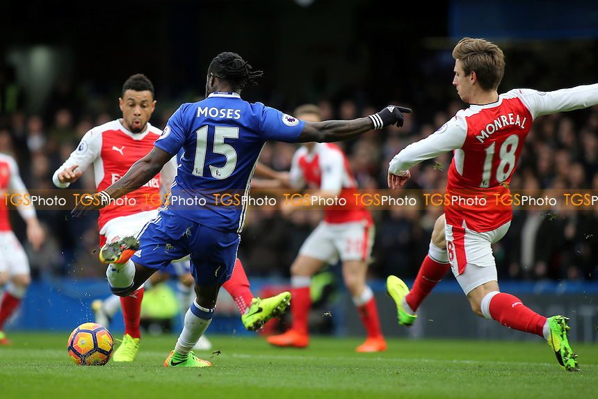 Victor Moses of Chelsea takes a shot at the Arsenal goal during Chelsea vs Arsenal, Premier League Football at Stamford Bridge on 4th February 2017