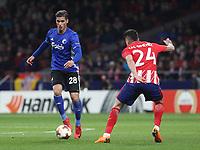 Copenhague's player Pieros Sotiriou; Atletico Madrid's Uruguayan defender Jose Maria Gimenez