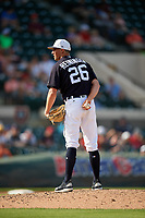 Detroit Tigers relief pitcher Zac Reininger (26) looks in for the sign during a Grapefruit League Spring Training game against the Atlanta Braves on March 2, 2019 at Publix Field at Joker Marchant Stadium in Lakeland, Florida.  Tigers defeated the Braves 7-4.  (Mike Janes/Four Seam Images)