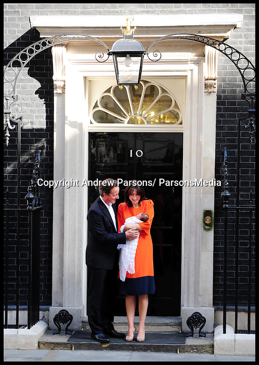 British Prime Minister David Cameron and wife Samantha pose for photographs for the first time together with their baby daughter Florence Rose Endellion outside Number 10 Downing Street on September 3, 2010, Photo By Andrew Parsons