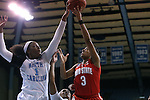 23 March 2015: North Carolina's Stephanie Mavunga (1) blocks a shot by Ohio State's Kelsey Mitchell (3). The University of North Carolina Tar Heels hosted the Ohio State University Buckeyes at Carmichael Arena in Chapel Hill, North Carolina in a 2014-15 NCAA Division I Women's Basketball Tournament second round game. UNC won the game 86-84.