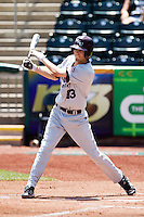 Kevin Medrano (13) of the Missouri State Bears follows through his swing during a game against the Wichita State Shockers in the 2012 Missouri Valley Conference Championship Tournament at Hammons Field on May 23, 2012 in Springfield, Missouri. (David Welker/Four Seam Images)
