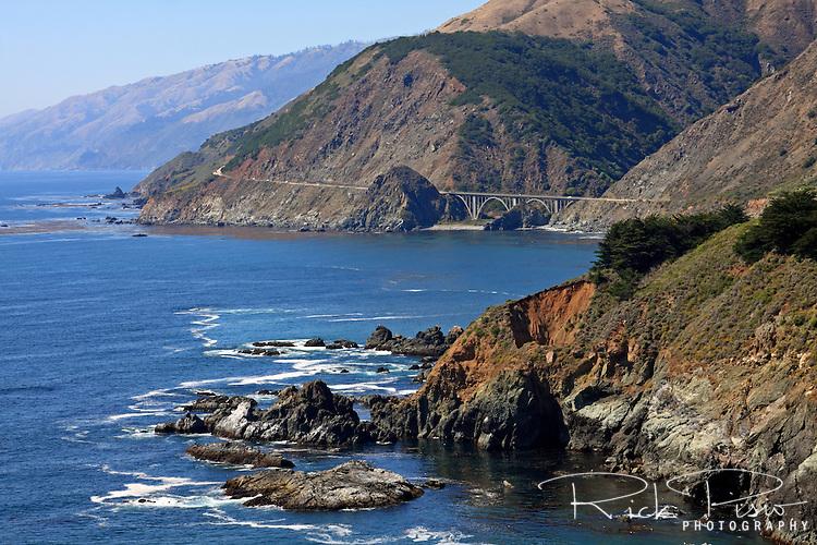 Highway 1 and Big Creek Bridge along California's Big Sur Coastline