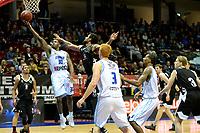 GRONINGEN - Basketbal, Donar - Apollo Amsterdam, Martiniplaza,  Dutch Basketbal League, seizoen 2018-2019, 11-11-2018,  score van Donar speler Jordan Callahan in duel met Apollo speler Dimeo van der Horst