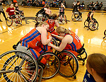 MARSHALL, MN - MARCH 17:  The University of Texas Arlington celebrate their 65-55 win over Alabama in the championship game at the 2018 National Intercollegiate Wheelchair Basketball Tournament at Southwest Minnesota State University in Marshall, MN. (Photo by Dave Eggen/Inertia)