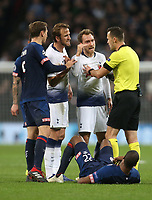 Tottenham Hotspur's Harry Kane and Christian Eriksen argue with referee Ivan Kruzliak that PSV Eindhoven's Denzel Dumfries is time wasting<br /> <br /> Photographer Rob Newell/CameraSport<br /> <br /> UEFA Champions League -Group B - Tottenham Hotspur v PSV Eindhoven - Tuesday 6th November 2018 - Wembley Stadium - London<br />  <br /> World Copyright © 2018 CameraSport. All rights reserved. 43 Linden Ave. Countesthorpe. Leicester. England. LE8 5PG - Tel: +44 (0) 116 277 4147 - admin@camerasport.com - www.camerasport.com