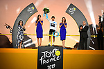Egan Bernal (COL) Team Ineos wins the young riders White Jersey on the final podium at the end of Stage 21 of the 2019 Tour de France running 128km from Rambouillet to Paris Champs-Elysees, France. 28th July 2019.<br /> Picture: ASO/Pauline Ballet | Cyclefile<br /> All photos usage must carry mandatory copyright credit (© Cyclefile | ASO/Pauline Ballet)