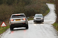 Pictured: A car drives through a flooded road near Cowbridge Wales, UK. Sunday 16 February 2020<br /> Re: Storm Dennis has been affecting parts of Wales, UK.