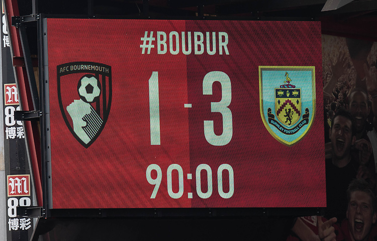 Final score<br /> <br /> Photographer David Horton/CameraSport<br /> <br /> The Premier League - Bournemouth v Burnley - Saturday 6th April 2019 - Vitality Stadium - Bournemouth<br /> <br /> World Copyright © 2019 CameraSport. All rights reserved. 43 Linden Ave. Countesthorpe. Leicester. England. LE8 5PG - Tel: +44 (0) 116 277 4147 - admin@camerasport.com - www.camerasport.com