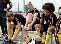 20180304 - LARNACA , CYPRUS :  Belgian Lenie Onzia , Jana Coryn and Kassandra Missipo (r) pictured during a Matchday -1 training from The Belgian Red Flames prior to their game against Austria , on Sunday 4 March 2018 at the Alpha Sports Grounds in Larnaca , Cyprus . This will be the third game in group B for Belgium during the Cyprus Womens Cup , a prestigious women soccer tournament as a preparation on the World Cup 2019 qualification duels. PHOTO SPORTPIX.BE | DAVID CATRY