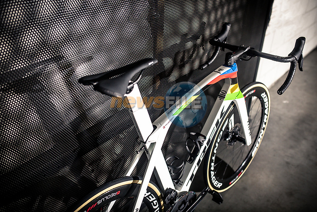Trek unveils custom Project One Madone created by Art Director Brian Lindstrom for newly crowned World Champion Mads Pedersen (DEN) Trek-Segafredo. 9th October 2019.<br /> Picture: Trek/Joost Van Hoey | Cyclefile<br /> <br /> <br /> All photos usage must carry mandatory copyright credit (© Cyclefile | Trek/Joost Van Hoey)