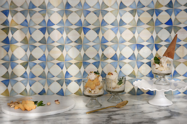 Zazen, a jewel glass mosaic shown in Chalcedony and Quartz, is part of the Miraflores collection by Paul Schatz for New Ravenna Mosaics.