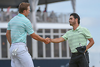 Jordan Spieth (USA) and Abraham Ancer (MEX) shake hands on 18 following round 4 of the Houston Open, Golf Club of Houston, Houston, Texas. 4/1/2018.<br /> Picture: Golffile | Ken Murray<br /> <br /> <br /> All photo usage must carry mandatory copyright credit (&copy; Golffile | Ken Murray)