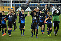 San Jose, CA - Saturday March 03, 2018: Chris Wondolowski, San Jose Earthquakes celebrate a win  during a 2018 Major League Soccer (MLS) match between the San Jose Earthquakes and Minnesota United FC at Avaya Stadium.