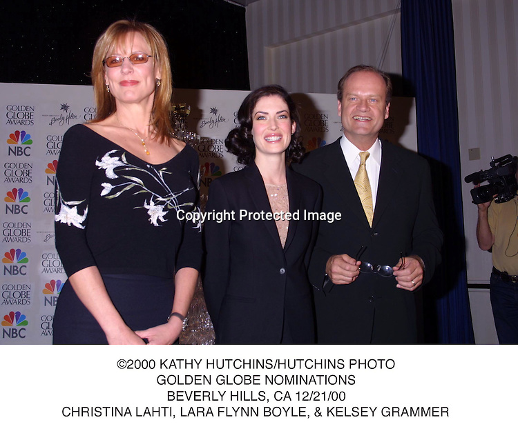 ©2000 KATHY HUTCHINS/HUTCHINS PHOTO.GOLDEN GLOBE NOMINATIONS.BEVERLY HILLS, CA 12/21/00.CHRISTINA LAHTI, LARA FLYNN BOYLE, & KELSEY GRAMMER