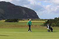 Robin Dawson from Ireland on the 1st green during Round 1 Singles of the Men's Home Internationals 2018 at Conwy Golf Club, Conwy, Wales on Wednesday 12th September 2018.<br /> Picture: Thos Caffrey / Golffile<br /> <br /> All photo usage must carry mandatory copyright credit (© Golffile | Thos Caffrey)