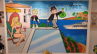 Pictured: A monopoly painting by Alec, for sale for €285000 at Eden Gallery.<br /> Re: Nammos village at Psarou beach on the island of Mykonos, Greece.