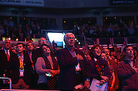 Washington, DC - March 20, 2016: AIPAC delegates stand as the Star Spangled Banner is sung at the start of the AIPAC Policy Conference at the Verizon Center in the District of Columbia, March 20, 2016. AIPAC is engaged in promoting and protecting the U.S.-Israel relationship to enhance security for both countries. (Photo by Don Baxter/Media Images International)