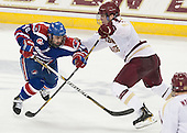 Ryan McGrath (UML - 10), Patrick Wey (BC - 6) - The University of Massachusetts Lowell River Hawks defeated the Boston College Eagles 4-2 (EN) on Tuesday, February 26, 2013, at Kelley Rink in Conte Forum in Chestnut Hill, Massachusetts.