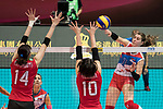 Wing spiker Bianka Busa (R) of Serbia spikes the ball during the FIVB Volleyball World Grand Prix - Hong Kong 2017 match between Japan and Serbia on 22 July 2017, in Hong Kong, China. Photo by Yu Chun Christopher Wong / Power Sport Images