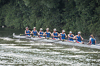 """Henley on Thames, United Kingdom, 4th July 2018, Wednesday, View, Heat of the Remenham Challenge Cup. """"Newcastle University, move away from the start,  first day of the annual,  """"Henley Royal Regatta"""", Henley Reach, River Thames, Thames Valley, England, © Peter SPURRIER,"""