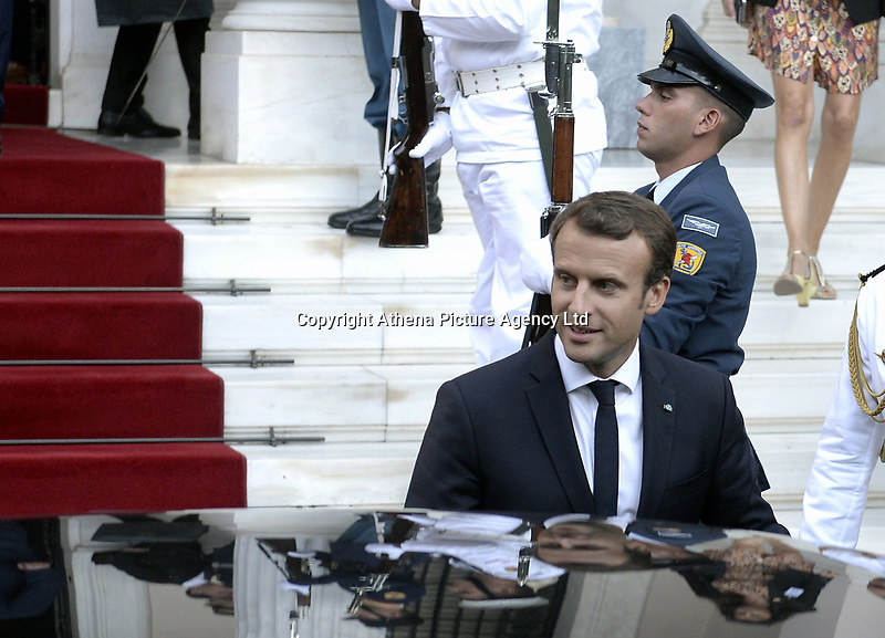 Pictured: French President Emmanuel Macron at Maximos Mansion in Athens, Greece. Thurday 07 September 2017<br /> Re: French President Emmanuel Macron state visit to Athens, Greece.