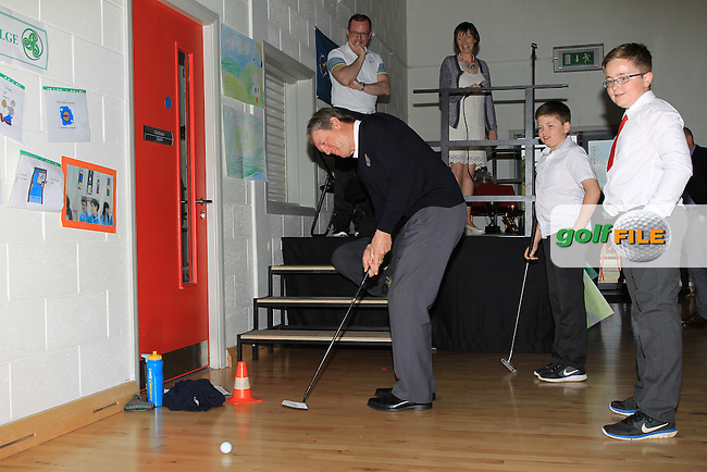 Des Smyth pictured during a visit with the Dubai Duty Free Irish open Trophy to St. Anne's National School in Straffan, Ardclough, Co. Kildare<br /> Picture: Golffile | Thos Caffrey<br /> <br /> All photo usage must carry mandatory copyright credit <br /> (&copy; Golffile | Thos Caffrey)