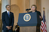 President Barack Obama (L) listens as Norway Prime Minister Erna Solberg delivers remarks during an an arrival ceremony for Nordic leaders in the Grand Foyer of the White House in Washington, D.C. May 13, 2016. Obama welcomed Iceland Prime Minister Sigurdur Ingi Johannsson, Denmark Prime Minister Lars Lokke Rasmussen, Sweden Prime Minister Stefan Lofven, Norway Prime Minister Erna Solberg and Finland President Sauli Niinisto to the White House. <br /> Credit: Kevin Dietsch / Pool via CNP