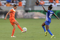 Houston, TX - Sunday Sept. 11, 2016: Poliana Barbosa, Eunice Beckmann during a regular season National Women's Soccer League (NWSL) match between the Houston Dash and the Boston Breakers at BBVA Compass Stadium.
