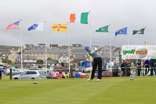 Colin Fairweather (Knock) on the 1st tee during the final round of the South of Ireland Amateur Open Championship at LaHinch Golf Club on Sunday 26th July 2015.<br /> Picture:  Golffile | TJ Caffrey