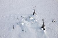 Native Alaska Summer fish camps along the coast of the Norton Sound, near Nome, Alaska.
