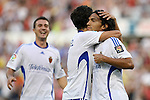 Zaragoza's Abel Aguilar (r), Jorge Lopez (c) and Gabi Fernandez  during La Liga match. September 27 2009. (ALTERPHOTOS/Acero).