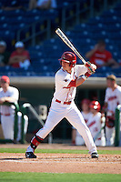 Ball State Cardinals Roman Baisa (3) at bat during a game against the Louisville Cardinals on February 19, 2017 at Spectrum Field in Clearwater, Florida.  Louisville defeated Ball State 10-4.  (Mike Janes/Four Seam Images)