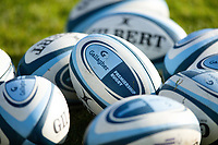 A general view of Gallagher Premiership branded rugby balls. Gallagher Premiership match, between Bath Rugby and Worcester Warriors on November 17, 2018 at the Recreation Ground in Bath, England. Photo by: Patrick Khachfe / Onside Images