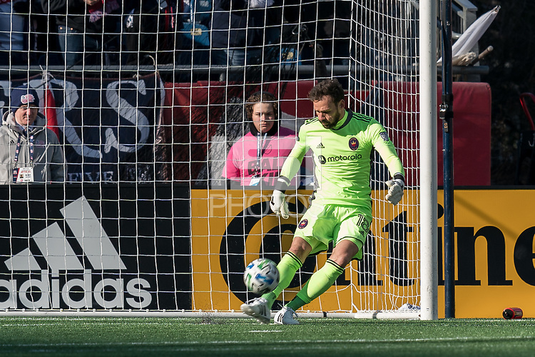 FOXBOROUGH, MA - MARCH 7: Kecceth Kronholm #18 of Chicago Fire takes a goal kick during a game between Chicago Fire and New England Revolution at Gillette Stadium on March 7, 2020 in Foxborough, Massachusetts.