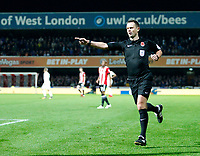 Referee, Stuart Attwell in action during the Sky Bet Championship match between Brentford and Leeds United at Griffin Park, London, England on 4 November 2017. Photo by Carlton Myrie.