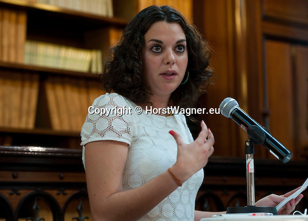 "Brussels-Belgium - June 21, 2012 -- ""Call to Europe II"" - a conference held at the Bibliotheque Solvay by FEPS - Foundation for European Progressive Studies; here, Session 2, with rapporteur Laura Ballarin Cereza - FEPS Young Academics Network -- Photo © HorstWagner.eu"