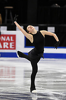 Tuesday, March 29, 2016: Angelina Kuchvalska of Latvia  skatesduring a practice session at the International Skating Union World Championship held at TD Garden, in Boston, Massachusetts. Eric Canha/CSM