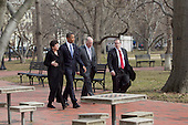 United States President Barack Obama walks across Lafayette Park  with William Daley, White House chief of staff, second from right, Gene Sperling, director of the National Economic Council, right, and Valerie Jarrett, senior adviser to Obama, to the U.S. Chamber of Commerce in Washington, D.C., U.S., on Monday, February 7, 2011. Obama said various loopholes and carve-outs distort economic decisions. He drew attention to the way that the deduction for interest encourages companies to borrow rather than invest with equity. .Credit: Andrew Harrer / Pool via CNP