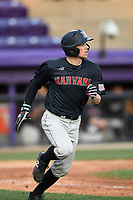 Shortstop Buddy Mrowka (5) of the Harvard Crimson runs out a home run ball in game two of a doubleheader against the Furman Paladins on Friday, March 16, 2018, at Latham Baseball Stadium on the Furman University campus in Greenville, South Carolina. Furman won, 7-6. (Tom Priddy/Four Seam Images)