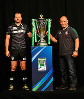 London, England. Geordan Murphy of Leicester Tigers with  Leicester Tigers Director of Rugby Richard Cockerill  and the Heineken Cup during the UK Heineken Cup and Amlin Challenge Cup season launch at SKY Studios on October 1, 2012 in London, England.