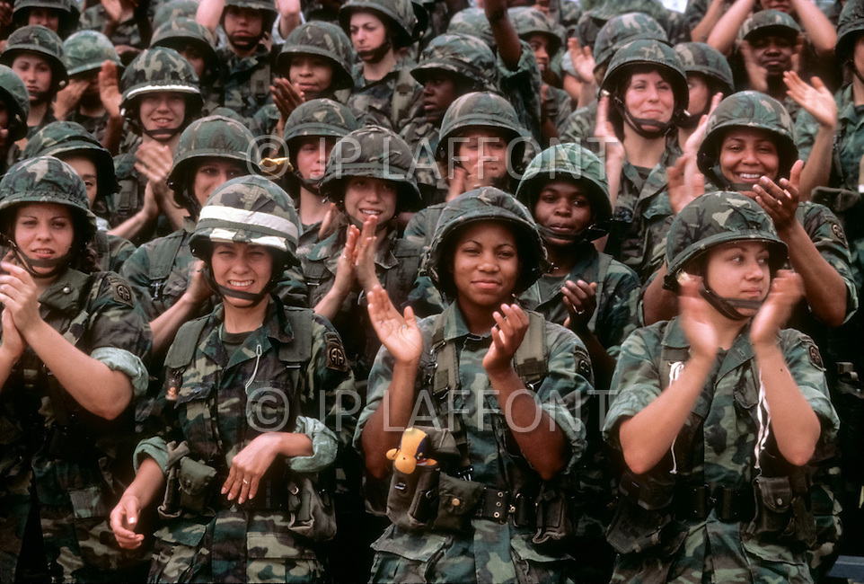 Fort Bragg, North Carolina, USA, June, 1980. Women paratroopers of the 82nd Airborne Division.