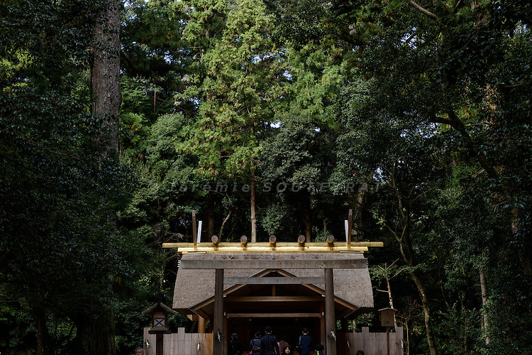 Ise, Mie prefecture, Japan, October 30 2016 - Inside Outer Shrine (Geku) of Ise Grand Shrine, one of Shinto's holiest and important site.
